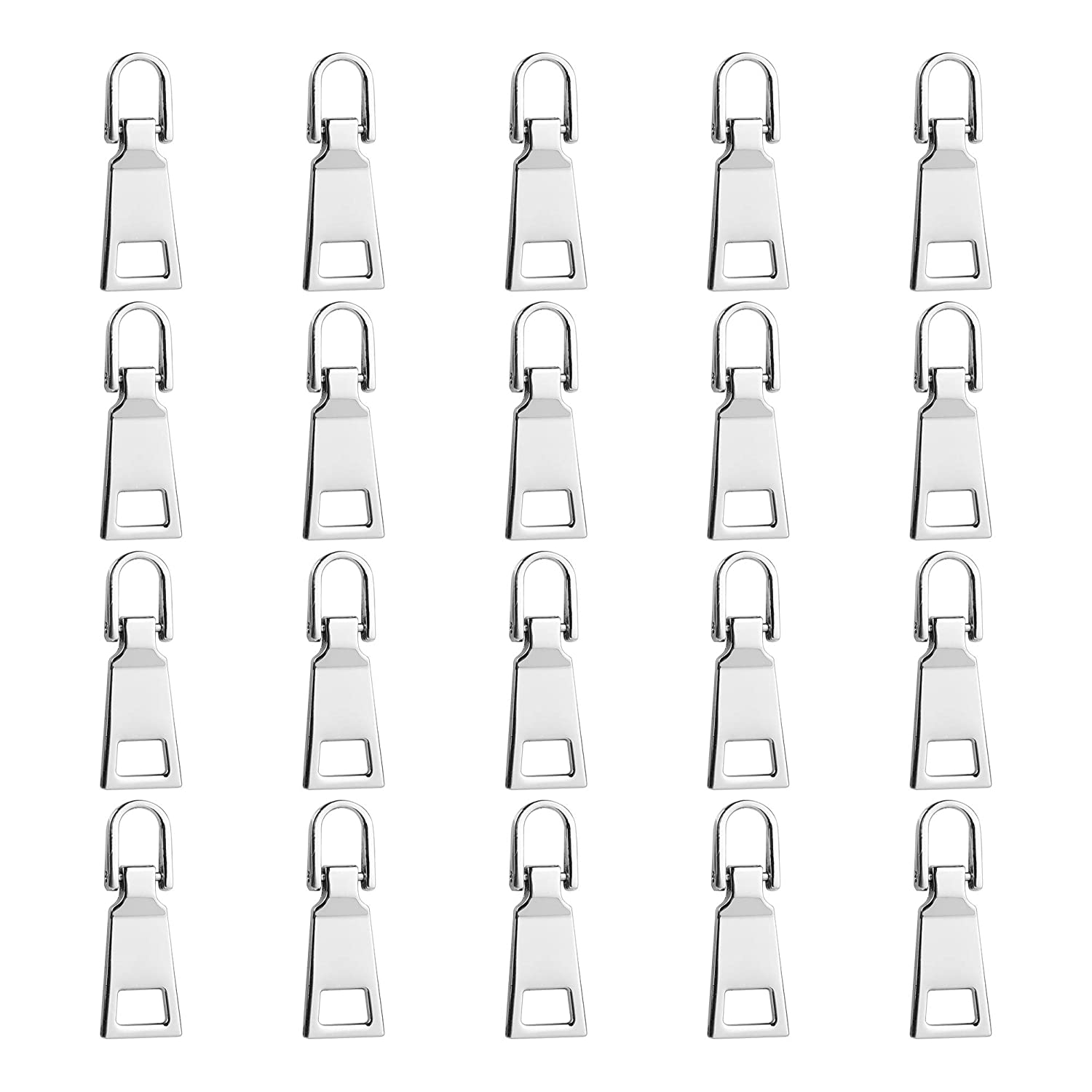 Tugaizi 20 Pieces Zipper Head Special Zipper Pull Card Detachable Pull Tab Zipper Pull Tabs Replacement Heavy Duty Zip Fixer #5 silvery