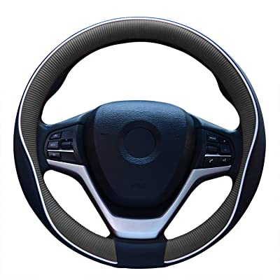 Fiber Leather Car Steering Wheel Cover, Universal 15 Inch Auto for Men Durable & No Smell(Black and Gray): Automotive
