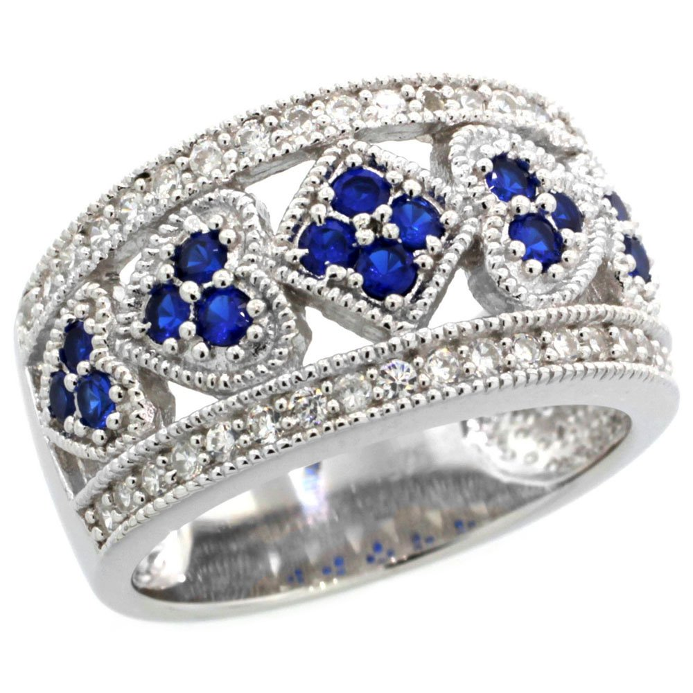 Sterling Silver Vintage Style Blue Sapphire Cubic Zirconia Cigar Band Ring Hearts & Diamonds, size 8 by Sabrina Silver