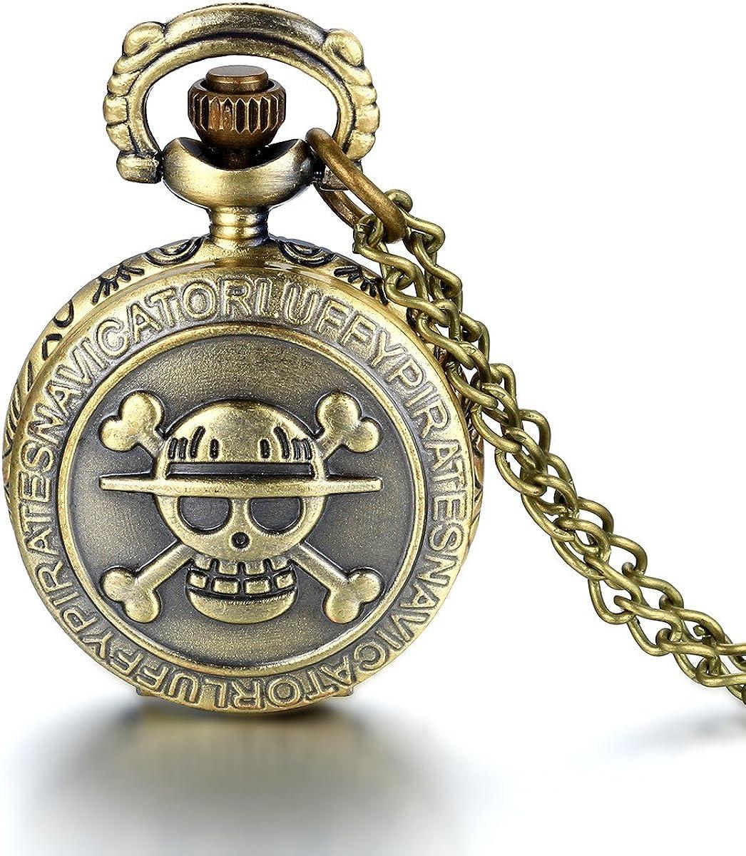 Reloj de bolsillo JewelryWe, de bronce envejecido, en diseño de calavera y con cadena de 80 cm