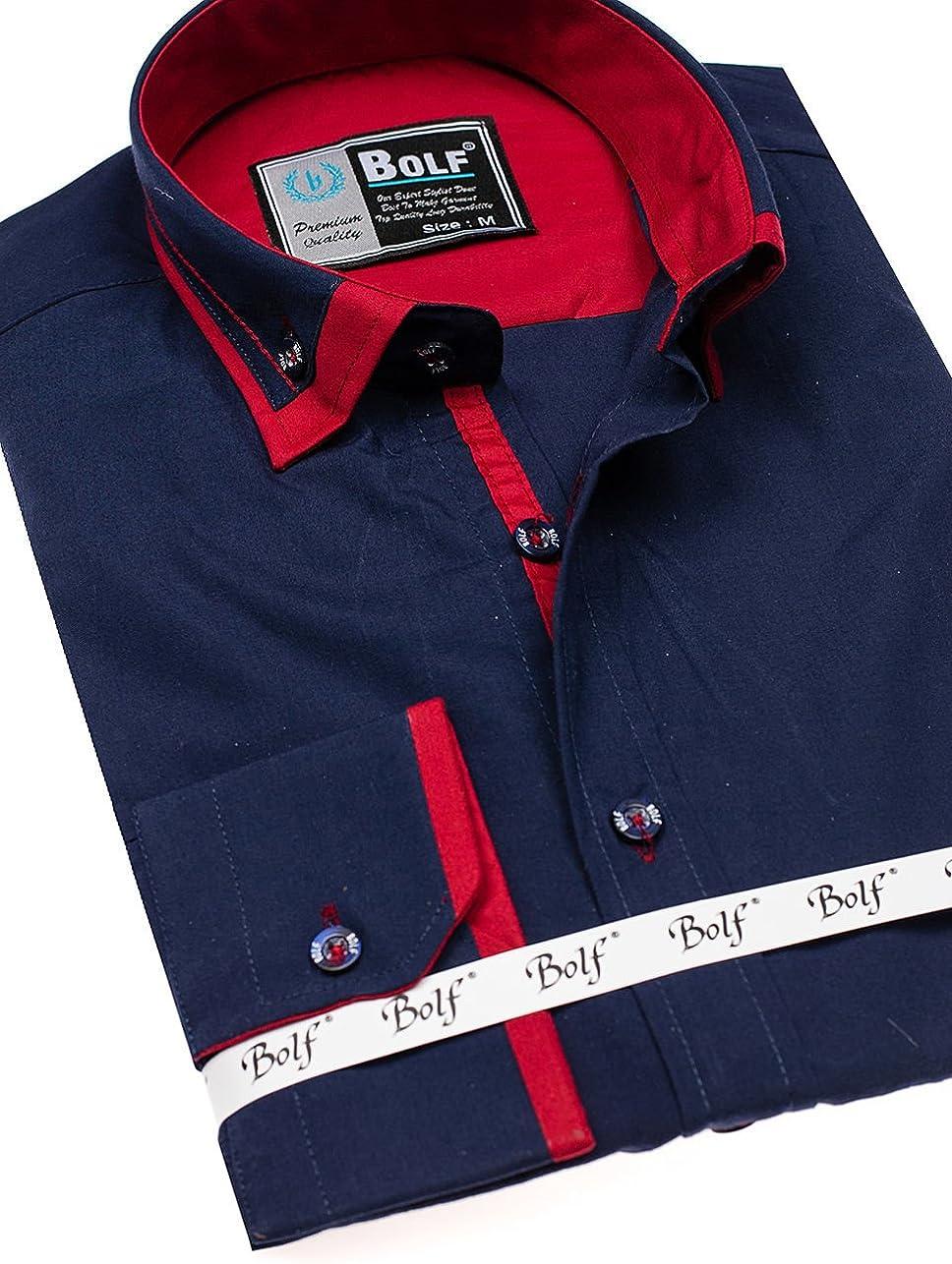 BOLF - Camisa Formal - Manga Larga - para Hombre Azul Oscuro S: Amazon.es: Ropa y accesorios