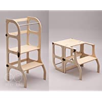 Montessori furniture Learning tower/table/chair, toddler Kitchen helper Step stool - WOODEN color/antique BRASS clasps