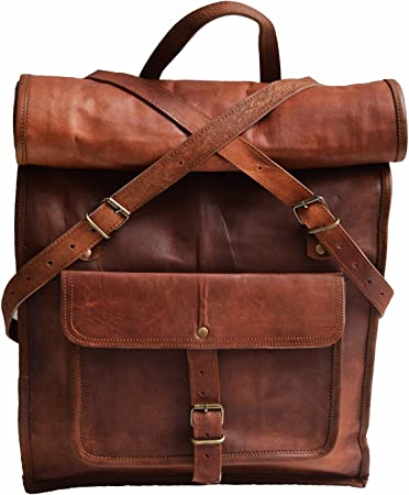 Unisex Men Vintage Leather Travel Sports Backpack Satchel Rucksack Laptop Bag