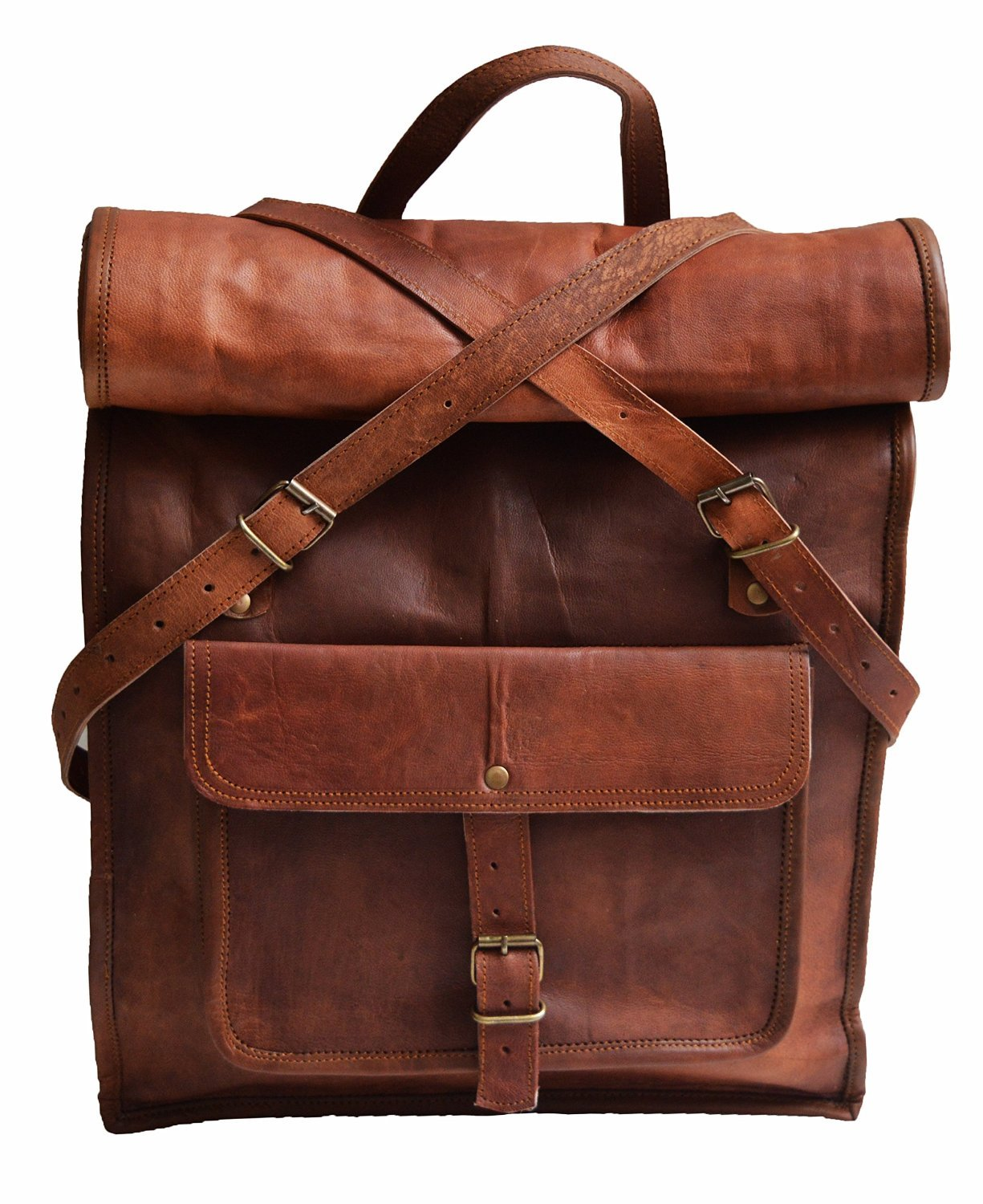 23 Large Genuine Leather Backpack for Laptop Travel roll top Rucksack for Men Women El cuero 22RO