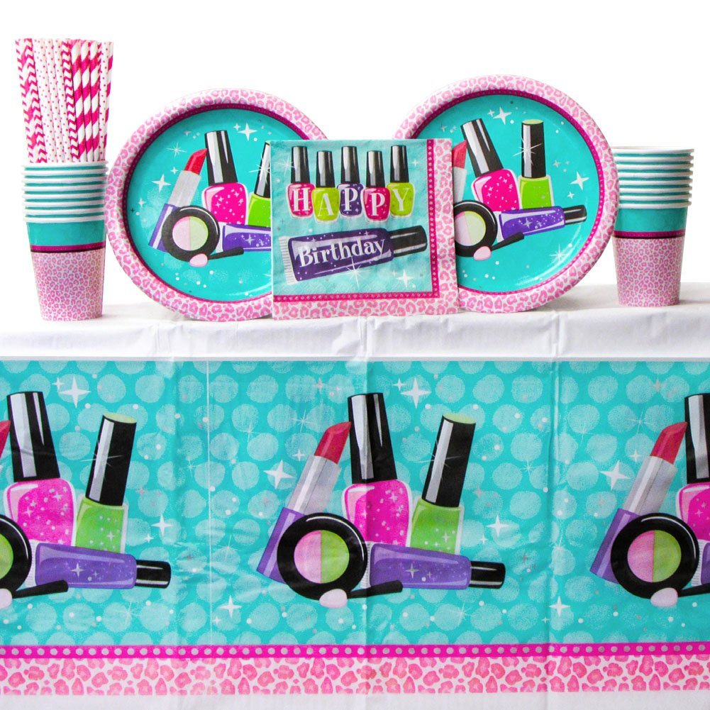 Cedar Crate Market Sparkle Spa Party Supplies Pack Bundle for 16 Guests: Straws, Dinner Plates, Luncheon Napkins, Cups, and Table Cover