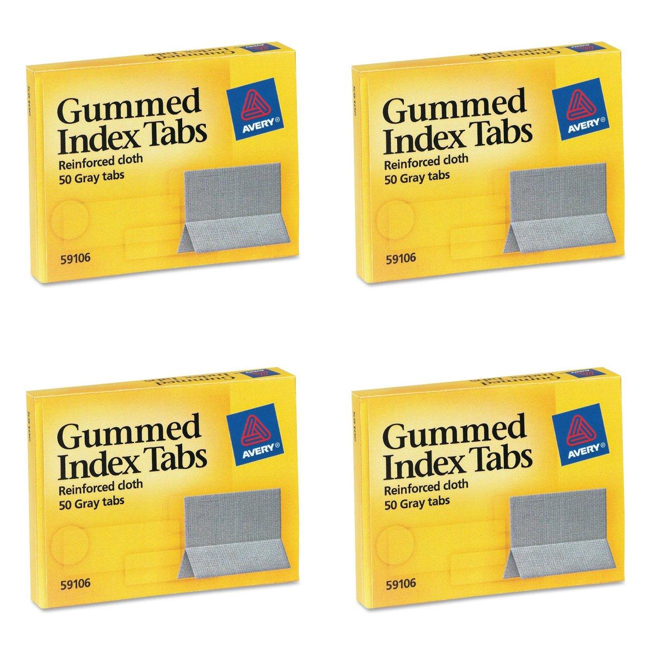 Avery Gummed Index Tabs, 50 Tabs (59106), 4 Packs