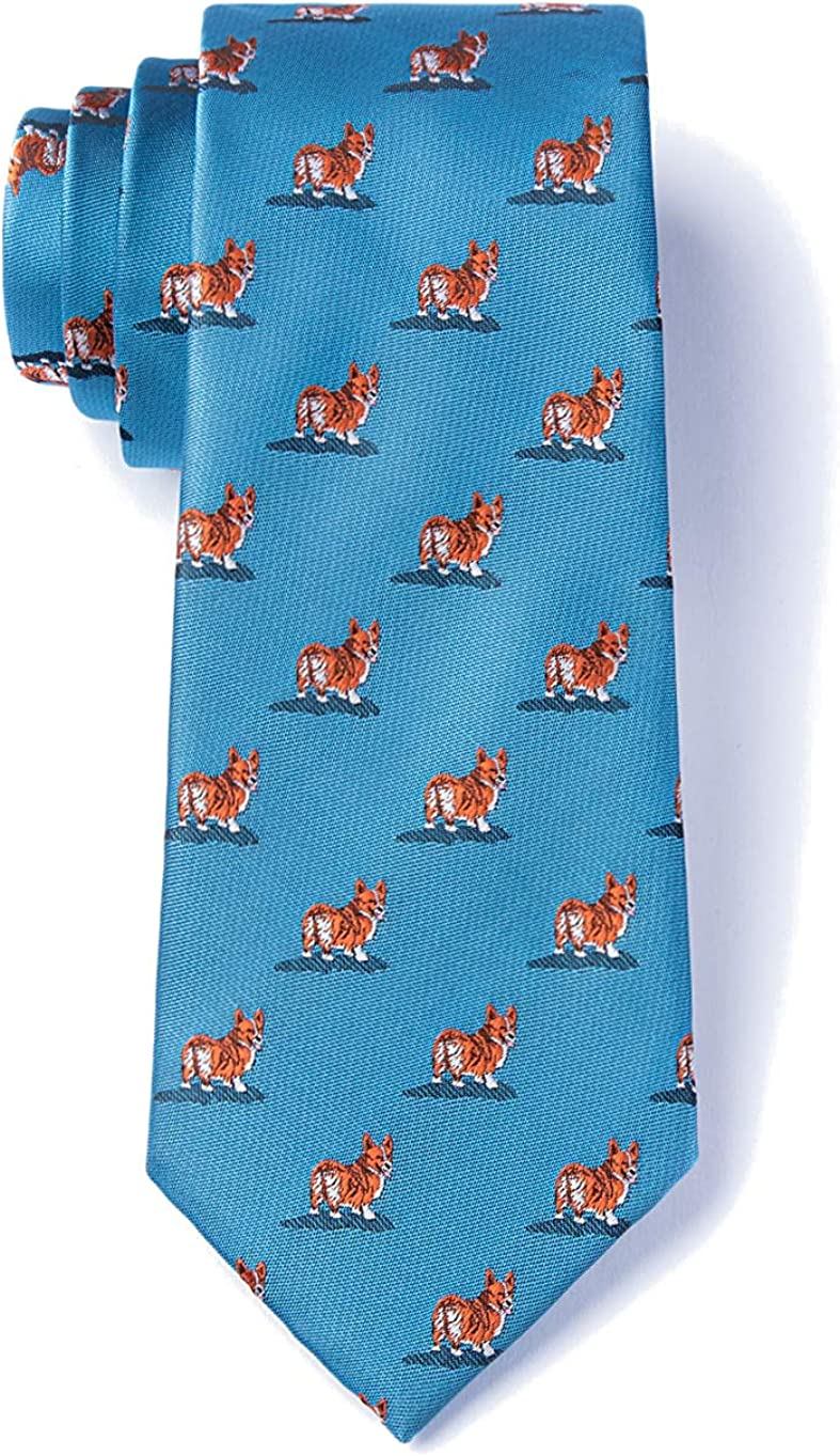 Mens Welsh Corgi Dog Lover Animal Novelty Necktie Tie