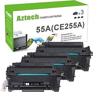 Aztech Compatible Toner Cartridge Replacement for HP 55A CE255A 55X CE255X Toner for HP Laserjet P3015 P3015dn P3015x HP Laserjet Pro 500 MFP M521dn M521dw M521 M525 (Black, 3-Pack)