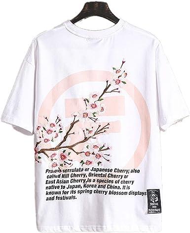 Camiseta Bordada de Verano con Letra Fina Flor de Ciruelo ...