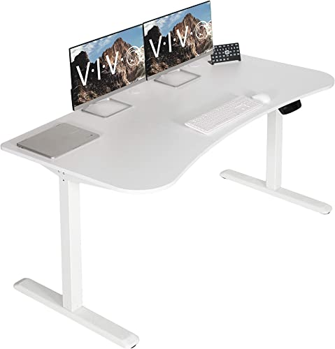 VIVO White Electric Height Adjustable Stand Up Desk Frame