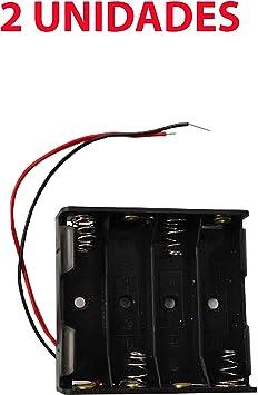 2X Portapilas 4 Pilas 6v Caja de batería para 4 pilas AA 6V: Amazon.es: Electrónica