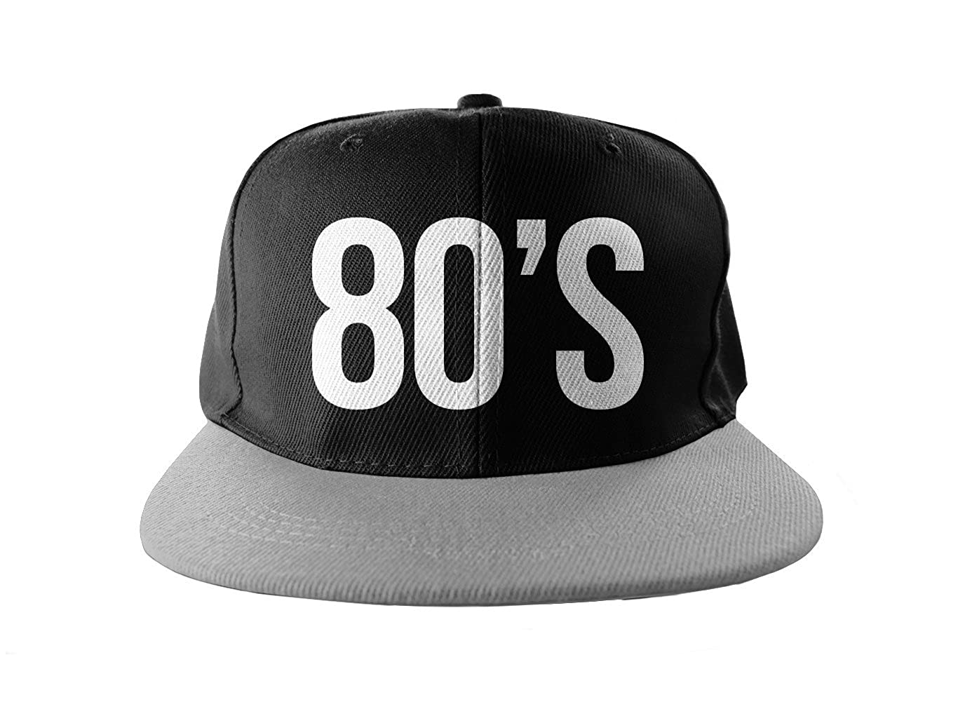 59b77d2b01f Amazon.com  80 s Cool Swag Hip Hop Print Snapback Hat Cap Black Grey   Clothing