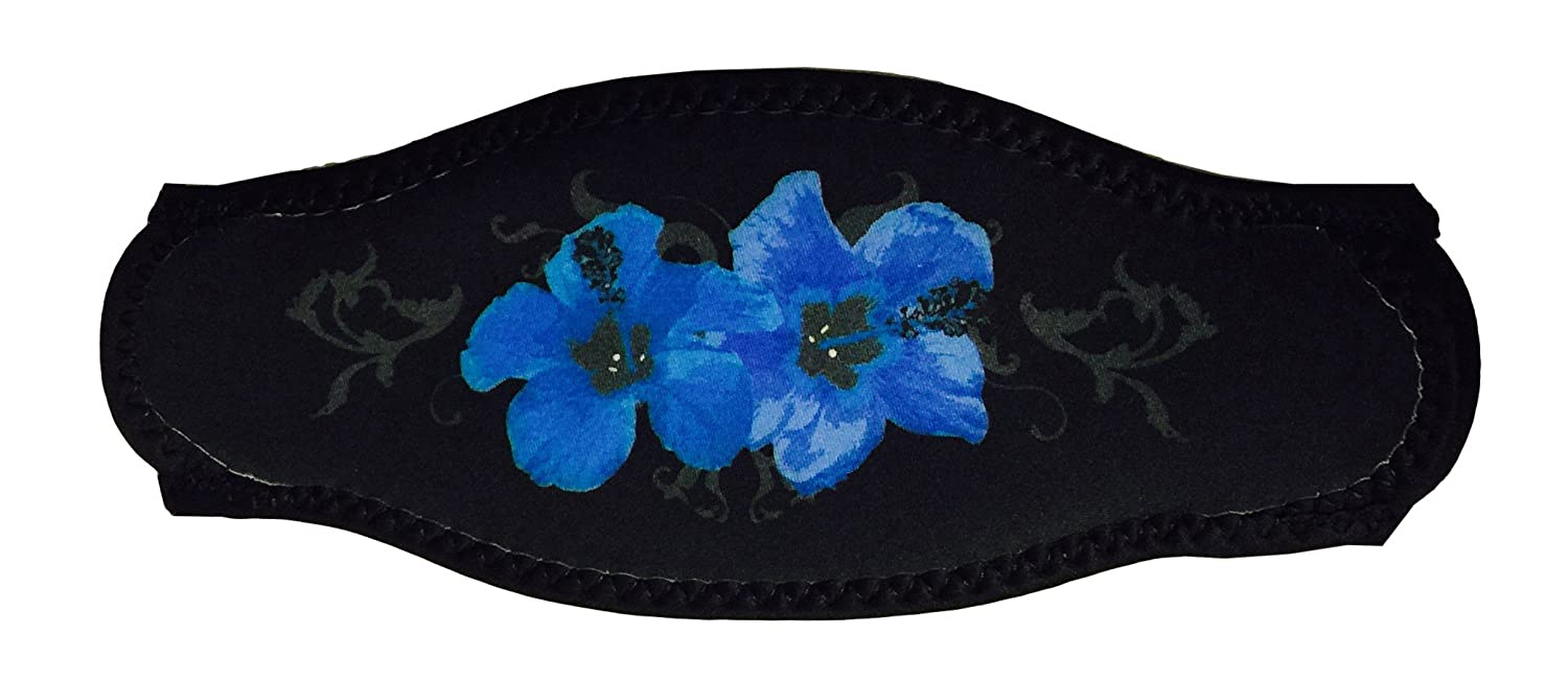 Black Strap Cover With Blue Hawaiian Flowers For Scuba Or Snorkel