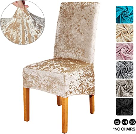 ele ELEOPTION Crushed Velvet Stretchable Elastic Chair Covers for Dining Room Wedding Banquet Party Decoration, XL High Back Chair Protector Slipcover
