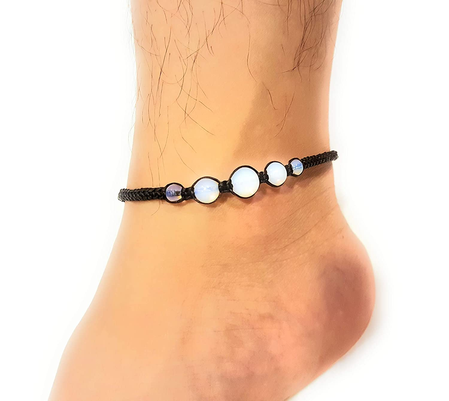 Infinity Opal Moonstone Anklet Bracelet Macrame Braided Woven Wax Cord Adjustable Anklet for Men teengirls NYAKOP1 Women