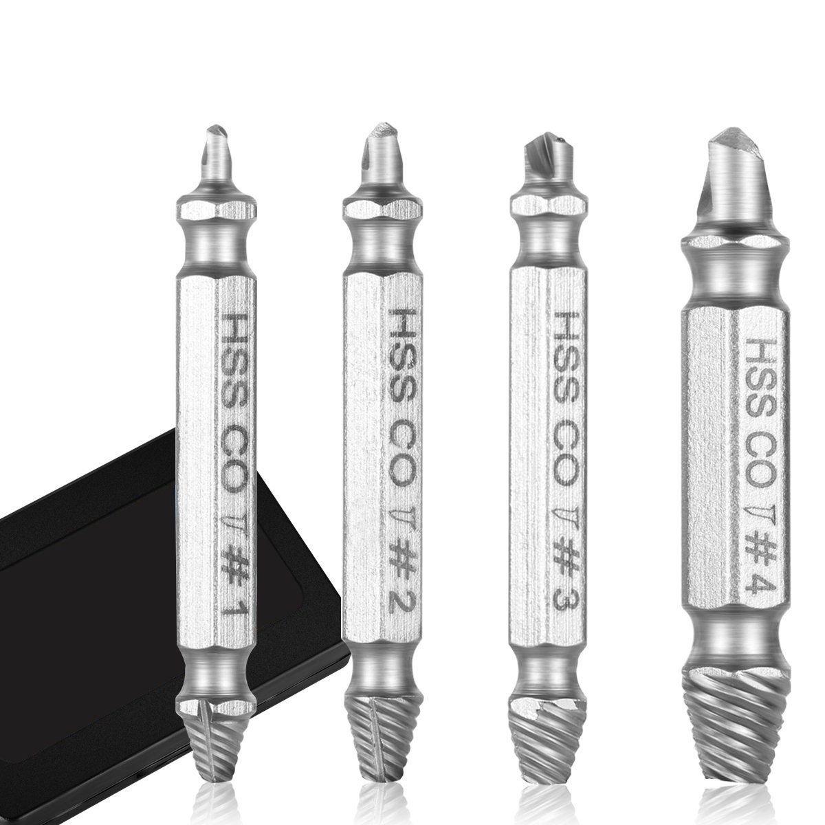 SODIAL extracteur de vis endommage, ensembles d'outils, 4 pieces pour enlever facilement, vis de durete cassee ou endommagee fabrique a partir de HSS Co (cobalt) M35 raffine ensembles d' outils