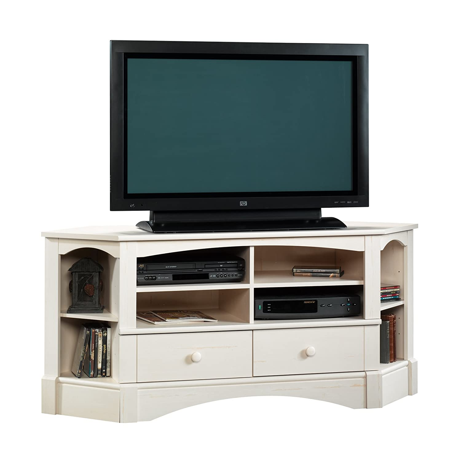 Sauder Harbor View Corner Entertainment Credenza, For TVs up to 60 , Antiqued White finish