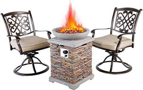 Casual World 20 inch Outdoor Propane Fire Pit Table Set