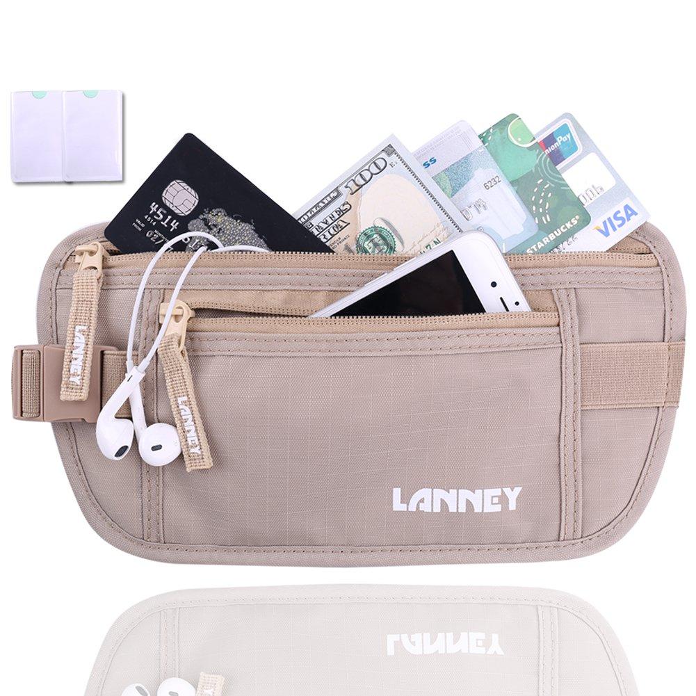 LANNEY Travel Money Belt Waist Wallet RFID Blocking, Anti-Theft Passport Holder, Hidden Waist Stash for Men Women, Khaki (2 Credit Card RFID Blocking Sleeves Bonus)