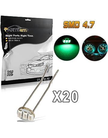 Partsam 20Pcs 4.7mm-12v Car Green Mini Bulbs Lamps Indicator Cluster Speedometer Backlight Lighting