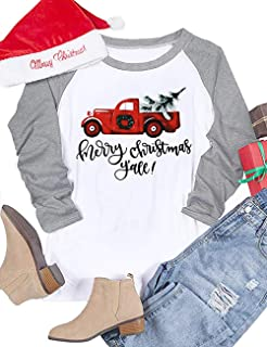9eeafdbd65e Amazon.com  Women Plus Size We Wish You a Merry Christmas Raglan ...
