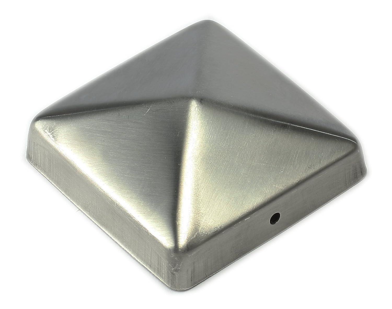 Chapeau / Capuchon de clôture en acier inoxydable en forme de pyramide pour poteau 9 x 9 cm de Gartenpirat®