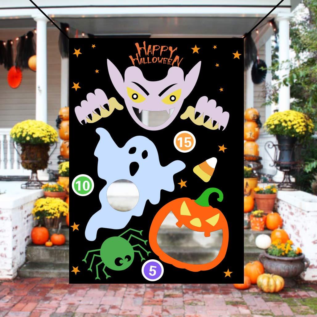 KOMIWOO Ghost Pumpkin Bean Bag Toss Games with 3 Bean Bags, Kids Halloween Party Games Halloween Decorations by KOMIWOO