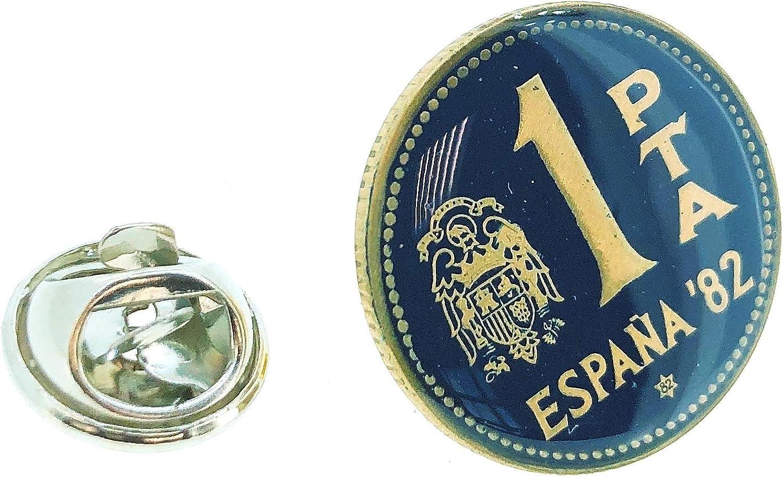 Pin de Solapa Moneda Original Pintada a Mano 1 Peseta Mundial 82 ...