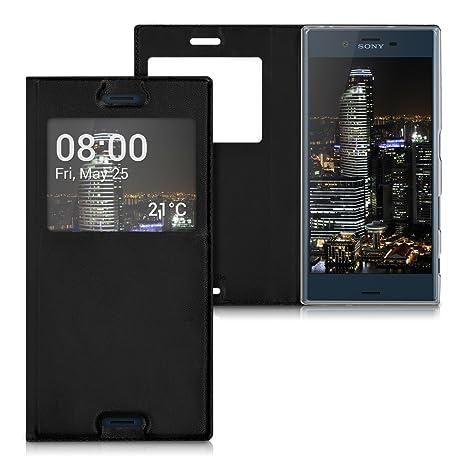 kwmobile Funda para Sony Xperia XZ/XZs - Carcasa de [Cuero sintético] con [Ventana] - Case con Solapa [Negro]