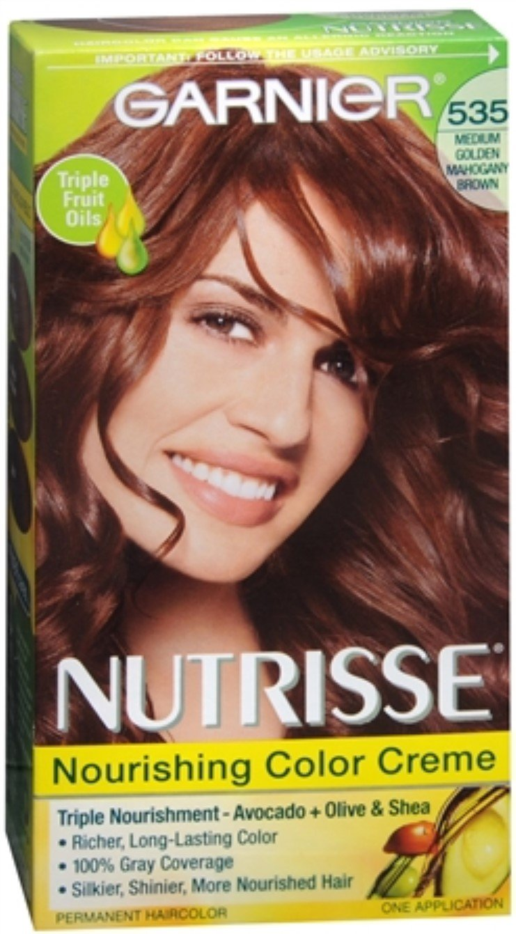 Garnier Nutrisse Haircolor Creme, Medium Golden Mahogany Brown [535] 1 ea (Pack of 6)