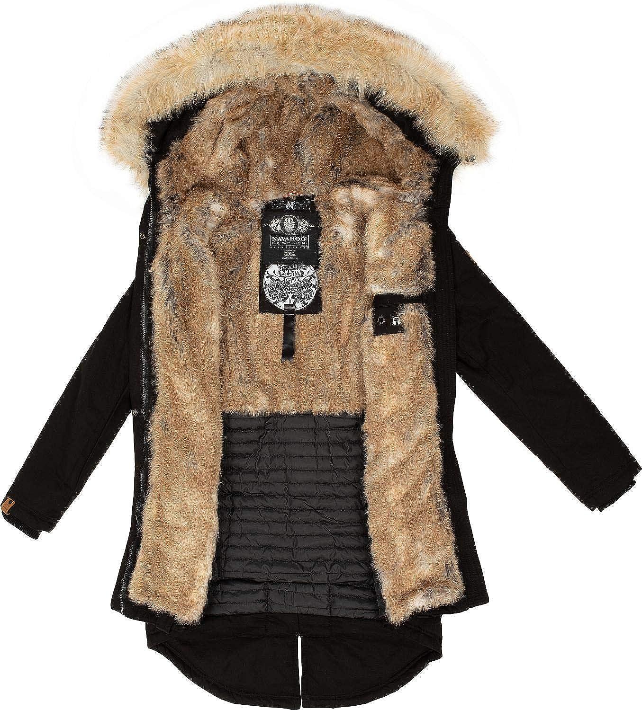 Navahoo Damen Wintermantel Winterparka mit Kunst-Fell Kapuze Bombii XS-XXL Schwarz