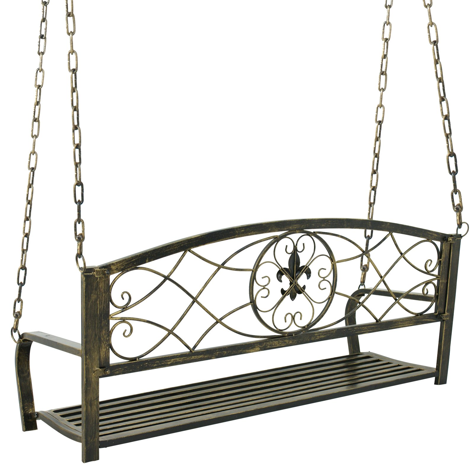 Smartxchoices Treated Metal Hanging Patio Swing Bench Porch Furniture Fleur-De-Lis Design 2 Person Heavy Duty Swing Chair 50.5''L by Smartxchoices (Image #2)