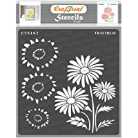 CrafTreat Layered Flower Stencils for Painting on Wood, Canvas, Paper, Fabric, Floor, Wall and Tile - 2 Step Daisy - 6x6…