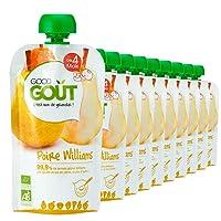 Good Goût - BIO - Gourde de Purée de Fruits Poire Williams dès 4 Mois 120 g - Pack de 10