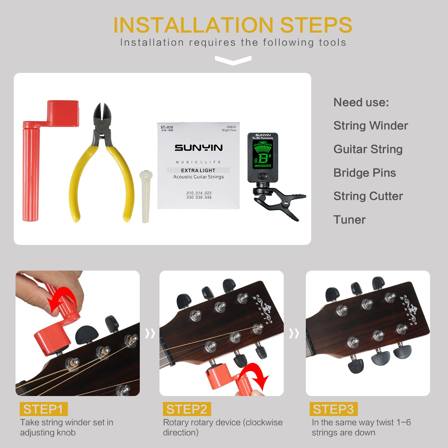Amazon.com: SUNYIN Acoustic Guitar Tool,Kit for Starter with Guitar ...