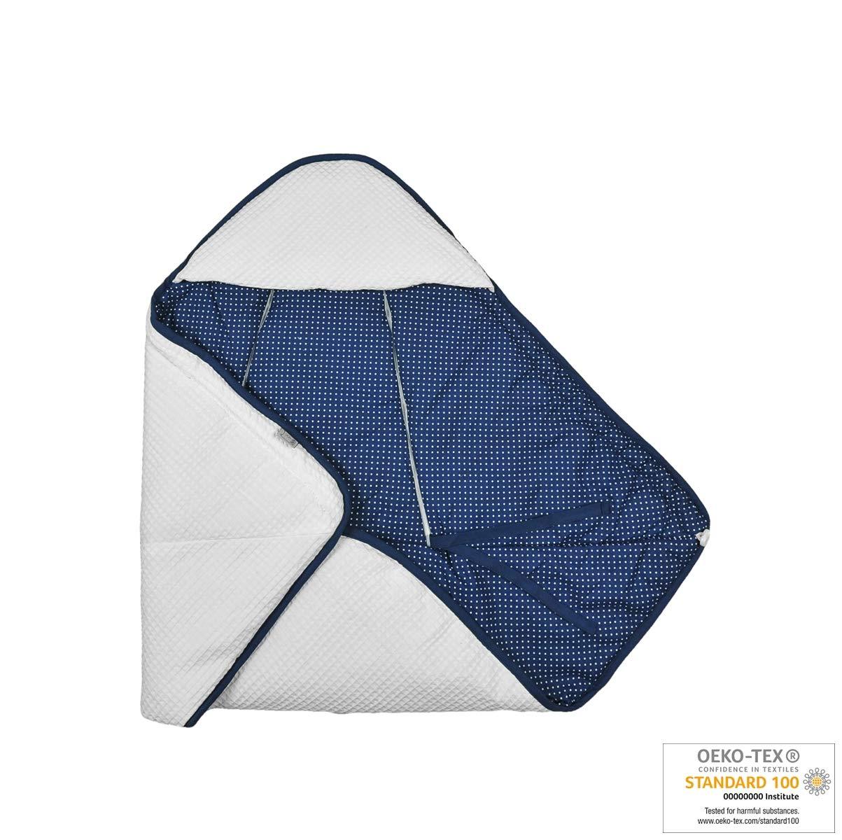 Coperta Monika New Swaddling passeggino o culla in 100/% cotone Waffle Piqu/é White - Navy Blue Bianco-Stars passeggino universale per seggiolino auto seggiolino auto