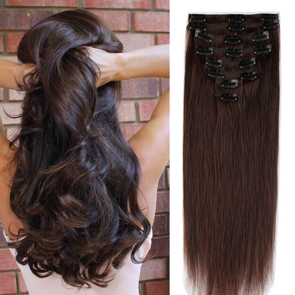 45cm/50cm/55cm Extension Capelli Veri Clip 8pz 18 Clips 100% Human Hair Testa Intera Resistente al Calore UK-Fashion-Shop
