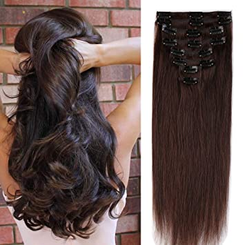 S-noilite Clip In Human Hair Extensions Full Head 100% Remy Real Human Hair 581b23091