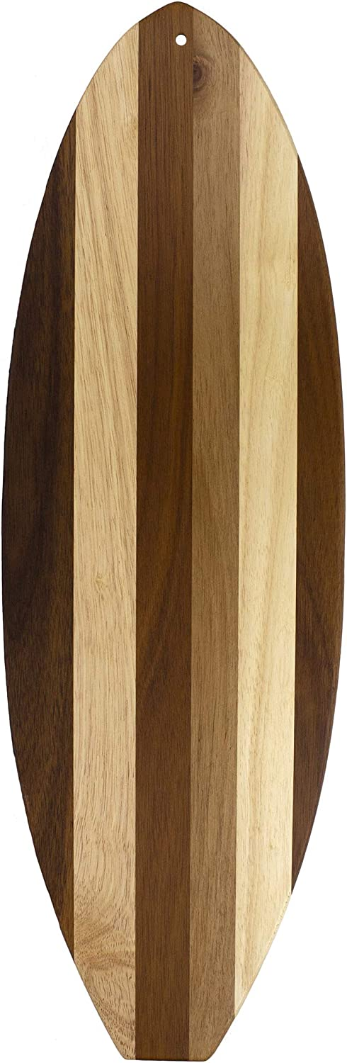 Totally Bamboo Rock & Branch Series Shiplap Surfboard Shaped Wood Serving and Cutting Board | Great for Wall Art