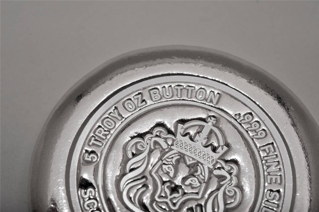 5 oz Scottsdale Silver Button .999 Fine Silver Hand Poured