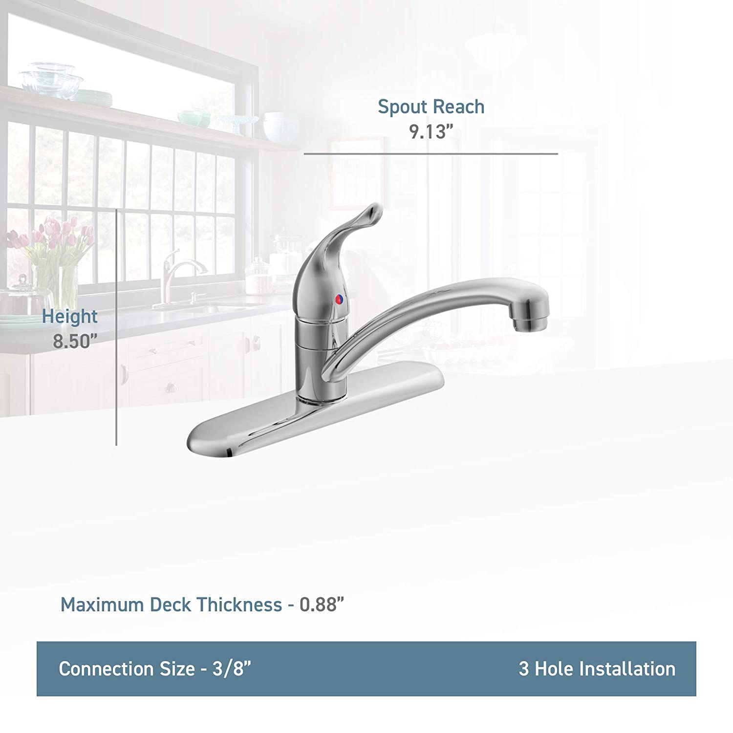 Moen 7425 Chateau One Handle Low Arc Kitchen Faucet Chrome Touch Reliant Single Diagram Of Parts For Models 4205 On Sink Faucets