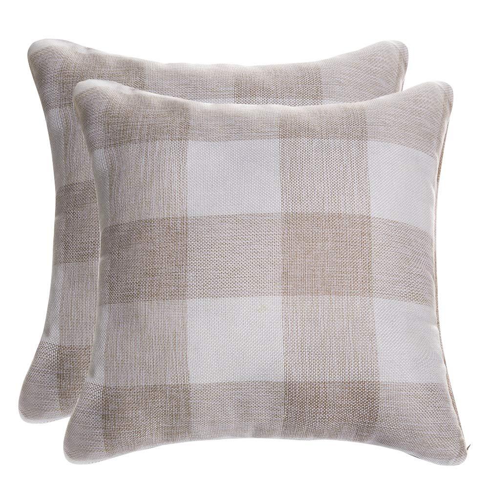 DR.NATURE Burlap Farmhouse Decor Checkers Plaid Cotton Linen Decorative Throw Pillow Case Rustic Cushion Cover Pillowcase for Sofa 18 x 18 Inch, Set of 2 (Beige) by DR.NATURE