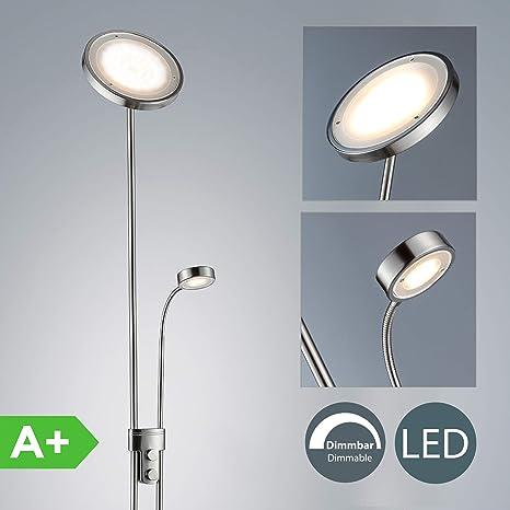 Lámpara de pie con interruptor de cable y pie I Lámpara de lectura 21W I Altura 1800 mm I Luz blanco cálido I Brazo giratorio I 230 V