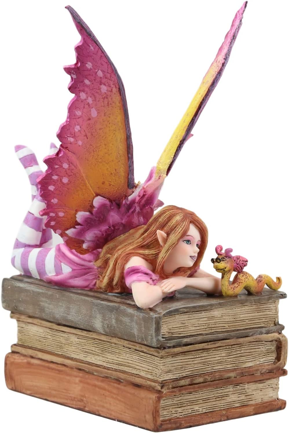 """Ebros Amy Brown Autumn Pink Book Club Fan Fairy with Wyrmling Dragon On A Stack of Books Statue 7"""" High Fantasy Mythical Reading Faery FAE Magic Watercolor Collectible Decor Figurine"""