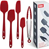 Kaluns Spatula, Silicone Spatula, 4 Rubber Spatulas and One Kitchen Tongs, Heat Resistant Spatula Set, Nonstick Seamless Desi