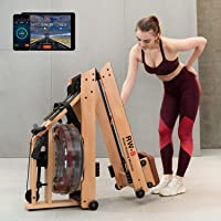 SNODE Foldable Wood Water Rowing Machine with APP, Rowing Machine Water Resistance for Home Use with LCD Monitor, Water…