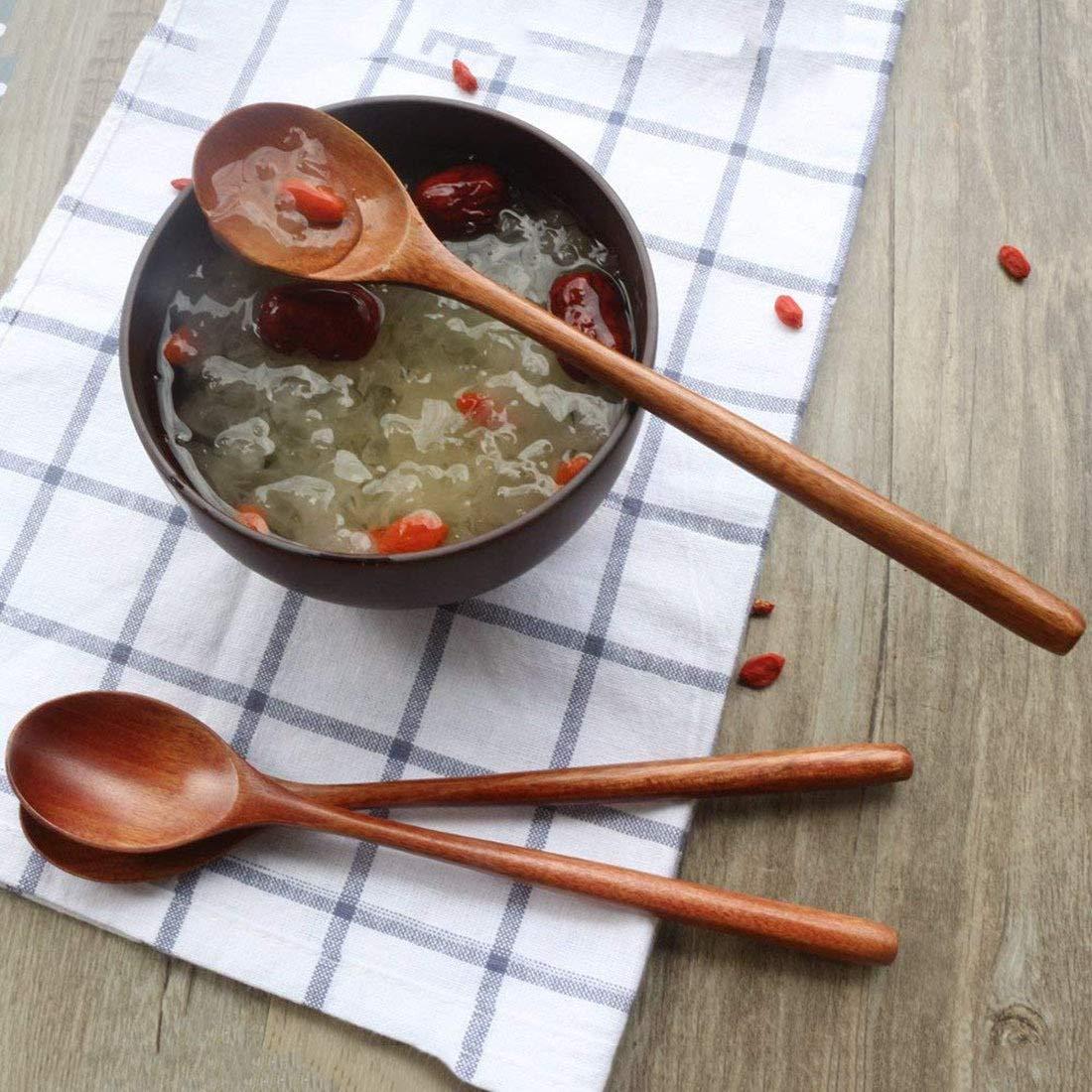 LLTT Cucchiaio di Legno 6 Pezzi di Legno zuppa cucchiai for Mangiare miscelazione di agitazione da Cucina Lungo Manico di Un Cucchiaio Color : Yellow