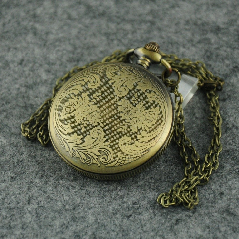 VIGOROSO Men's Quartz Unique Skull Death Enamel Painting Steampunk Bronze Flowers Pocket Watch