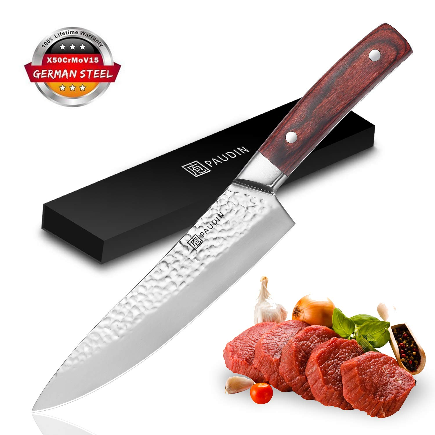 PAUDIN 8 inch Chef Knife - Pro Kitchen Knife High Carbon Stainless Steel 7Cr17Mov Hammer Pattern Sharp Knife with Ergonomic Handle, Best Kitchen Knife for Dealing with Meat, Fruit and Vegetables