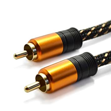 Cable coaxial de audio o vídeo digital - Conectores RCA machos, blindaje y trenzado de